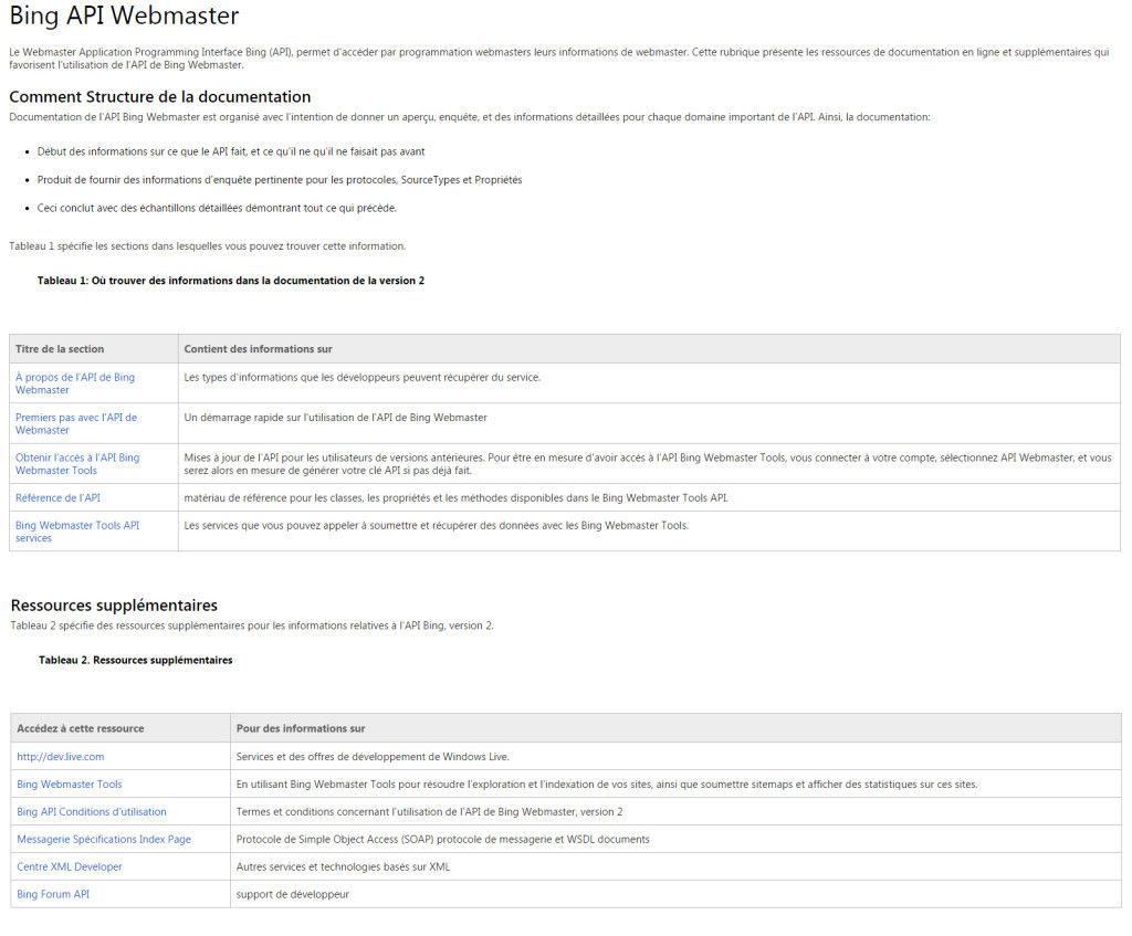 Bing API webmaster