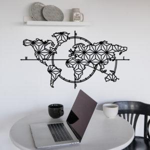 Déco murale métal carte du monde